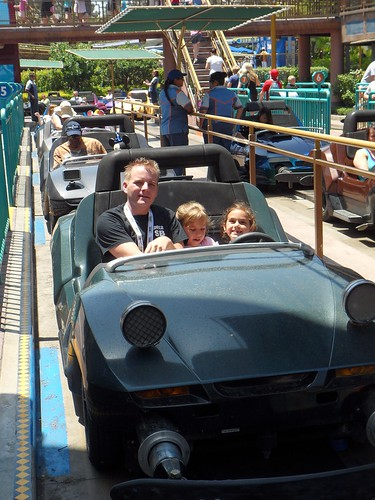 Bill, Annie and Mimi driving in Autopia