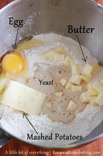 Add the rest of the ingredients to the proofed yeast