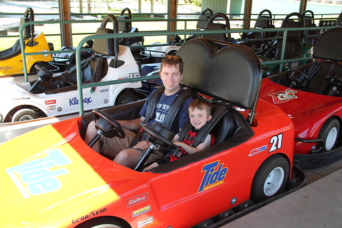 Olsen and Dadda get ready for Go-Karting