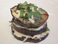 Grilled Eggplant, Basil and Cauliflower-White Bean Napoleons