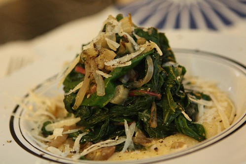 Creamy Polenta wth Wilted Swiss Chard, Spinach, and Grated Parmigiano-Reggiano