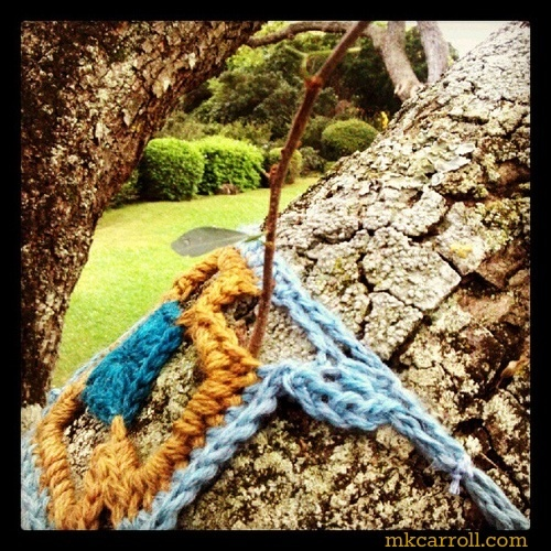 View from yarnbombed tree