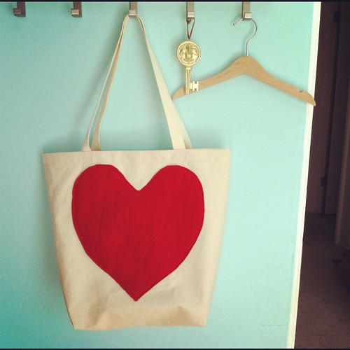 bag with a huge red heart