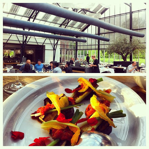 Had dinner in a beautiful greenhouse. Andof course the food resembled a pretty garden. Aubergine with edible petals. Strange but good. =)