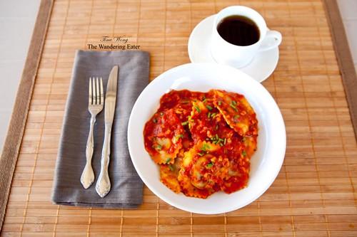 Chicken marsala ravioli in a tomato mushroom sauce