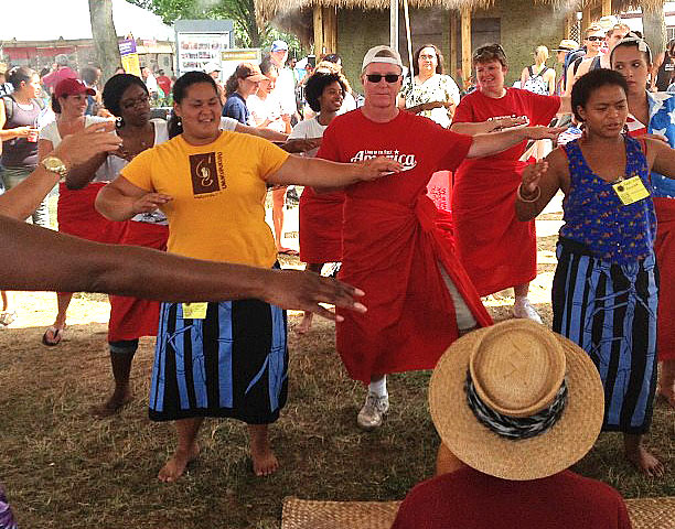 <p>A hula workshop at the University of Hawaii tent at the Smithsonian Folklife Festival.</p>