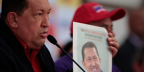 A Sick Chavez with Old Picture for Campaign Poster