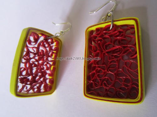 Handmade Jewelry - Paper Beehive Quilling Earrings (Rectangle) (2) by fah2305