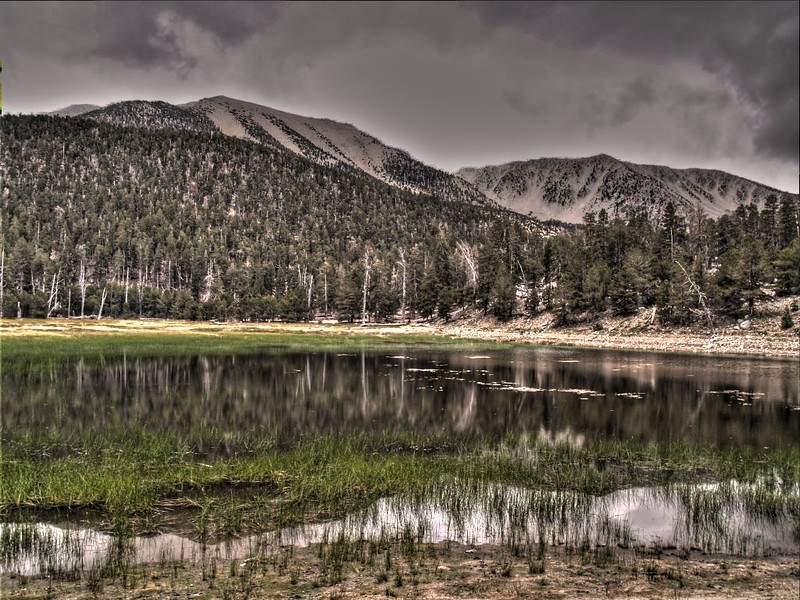 HDR of San Gorgonio Mountain and Jepson Peak reflected by Dry Lake