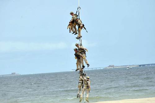 SEALs demonstrate the Special Patrol Insertion/Extraction.