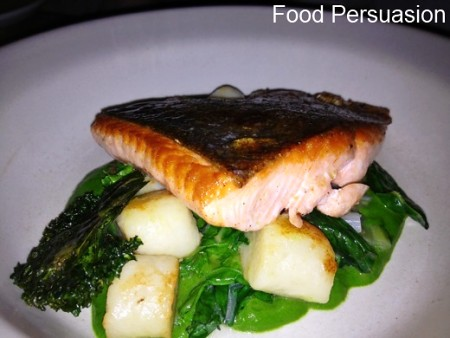 Slow cooked local salmon