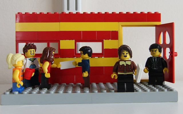 Here, we re-create in Lego activists Helen Steel & Dave Morris leafleting a McDonalds restaurant in 1984.