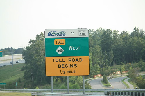 Toll NC 540 begins in a half mile