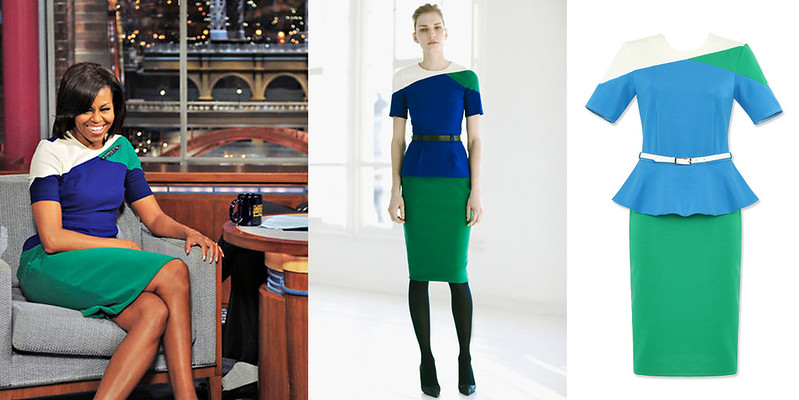 Colorblock peplum dress inspired by Michelle Obama