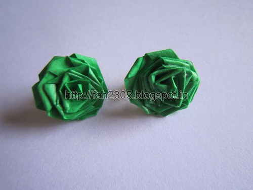 Handmade Jewelry - Paper Rose Earrings (Green) (1) by fah2305