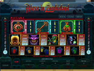 free Alaxe in Zombieland slot payout