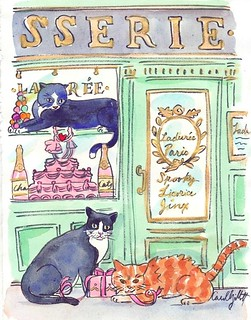 BOBBIE JEAN cats watercolor