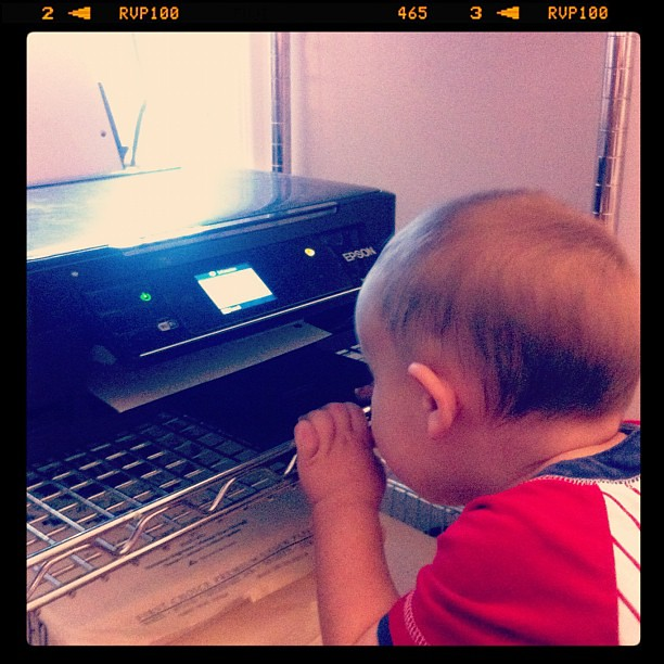 Watching paper come out of the printer. Spellbound. :)