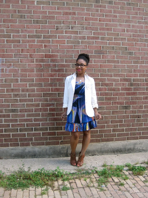 cobalt dress and white blazer 2