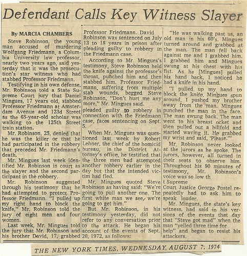 08/07/74 New York Times (Murder Trial Article)