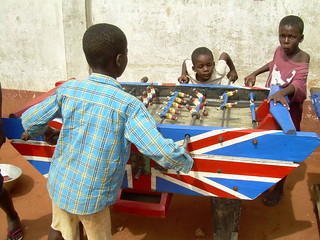 Supporting Soccer Aid: Ghanaian children playing table football