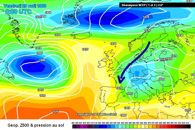 carte de situation des records de froid et des gelées du 1er mai 1960 météopassion