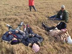 帶領遊客躺在柔軟的草地體驗草園風情很受歡迎(提供者:陳美惠)