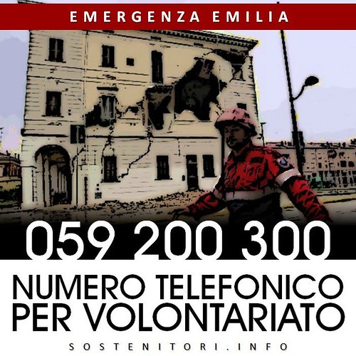 Terremoto in Emilia: EMERGENZA EMILIA: 059 200 300 NUMERO TELEFONICO PER VOLONTARIO. FACEBOOK (29/05/2012).