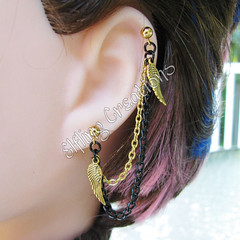 Gold and Black Wing Cartilage Chain Earring