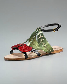 Miu Miu Cherry Flat Sandal NM Retail $595 on sale for $398