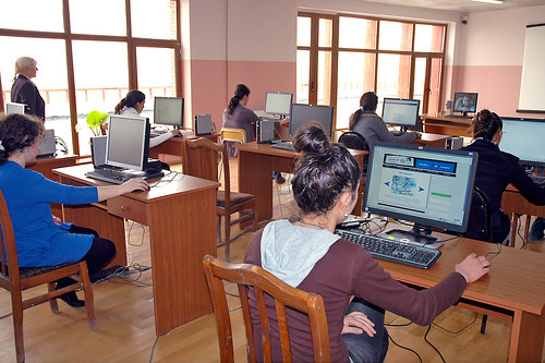 The computer lab at the Jugaani village school