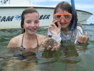 Bailey and Sophia with sea urchins