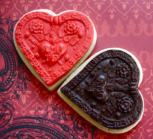 Chocolate and Red Springerle Moulded Heart Cookies