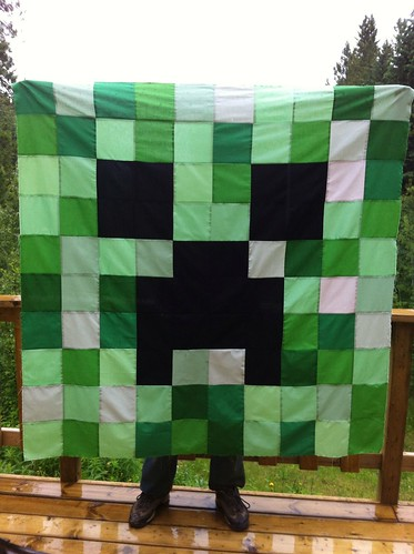 Minecraft Creeper Quilt Top by CoraQuilts ~ MrsCarla