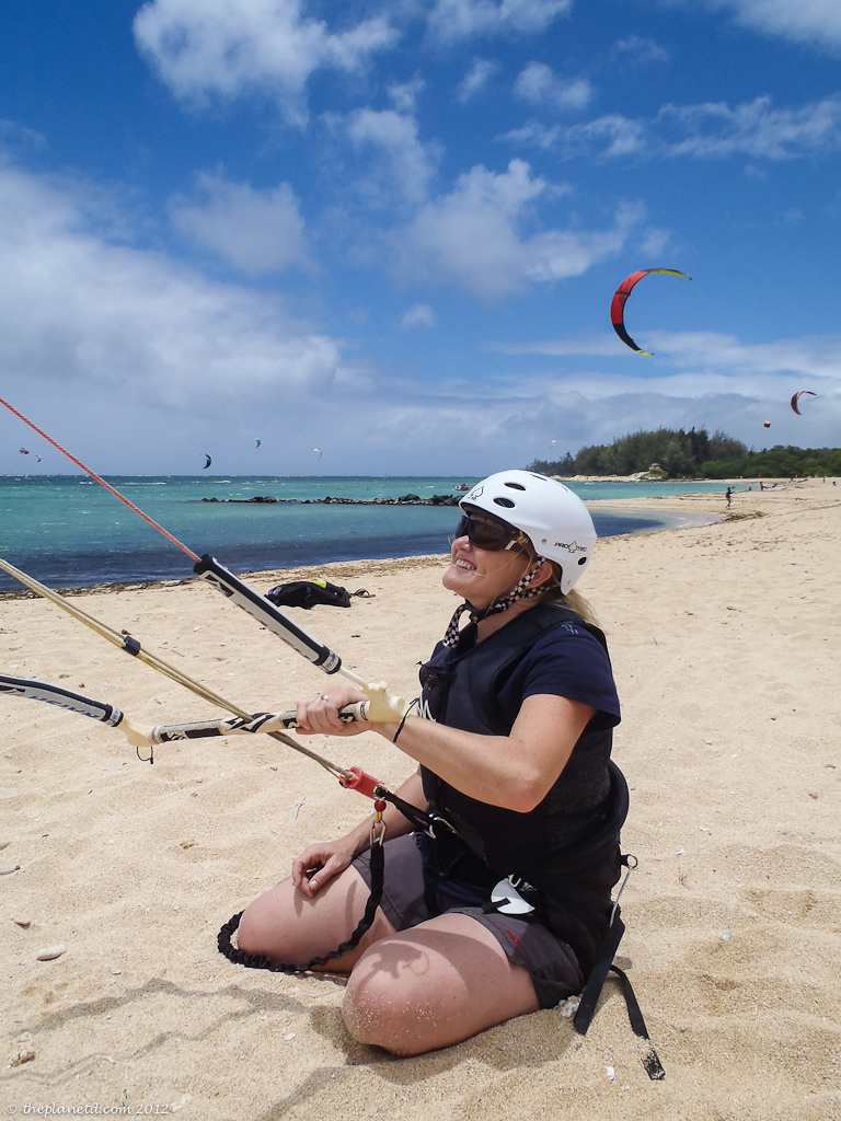 travel couple deb on beach kiteboarding in maui