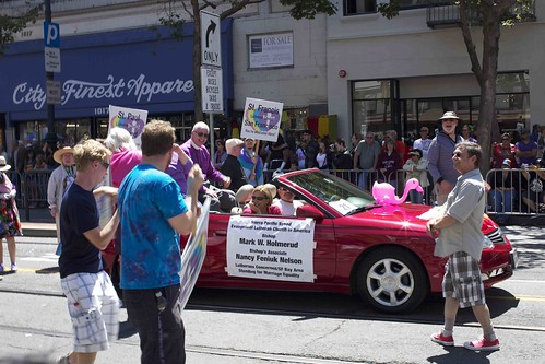 Bishop Mark W. Holmerud and Bishop's Associate Nancy Feniuk Nelson of Evangelical Lutheran Church in America, Lutherans Concerned/SF Bay Area, Standing for Marriage Equality in open car