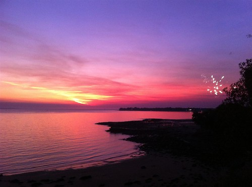Sunset and fireworks on Territory Day