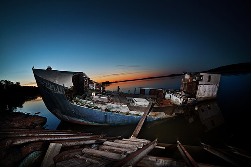 longexposure sea night harbor boat ship flash wreck strobist