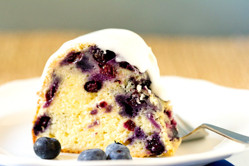 A big slice of Blueberry-Lemon Bundt Cake