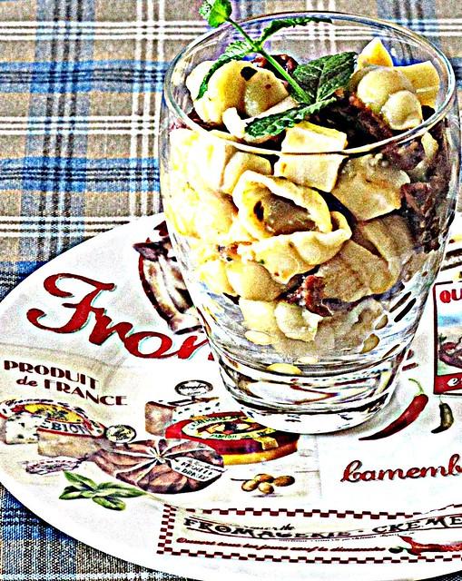 Gnocchetti Freddi con Spuma di Melone alla Grappa, Pomodori Secchi e Asiago