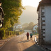 <p>These pilgrims are walking through the first town after Roncevaux... this was my favourite part of the day to take photos... just love the golden light and long shadows!</p>