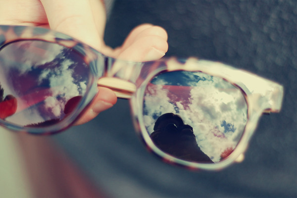Wardrobeblock : Sunglasses dof cloud reflection lenses blue skies