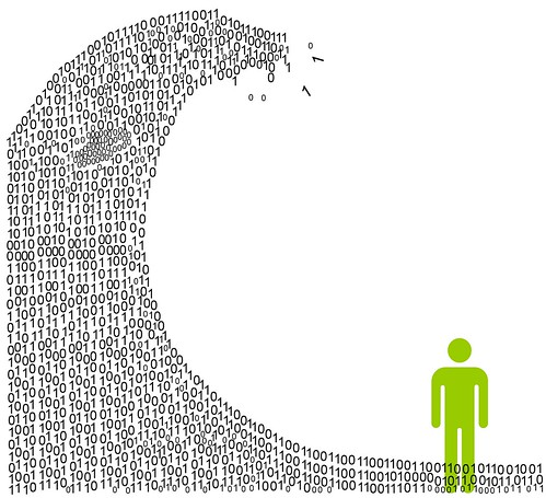 A cartoon person standing under a wave. The wave is made of numbers instead of water.