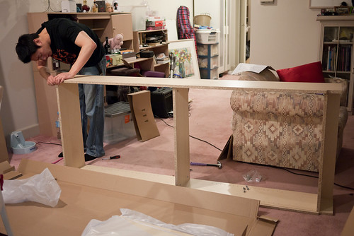 In progress: setting up of Billy bookshelves