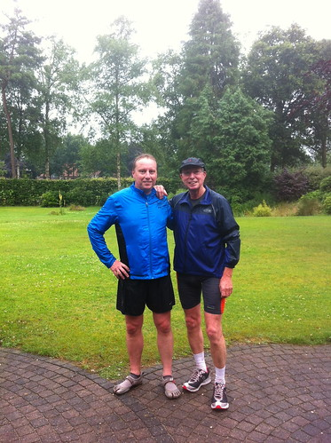 Me and my dad after a run in the rain in Holland
