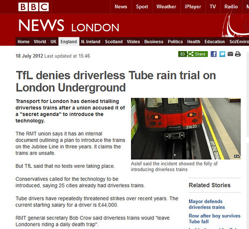 TfL denies driverless rain trials