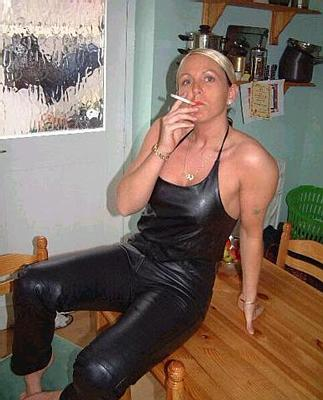 Fucking leather Moms pants smoking