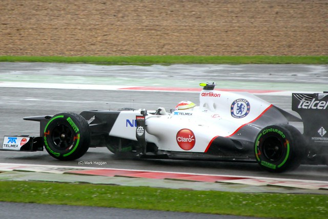 Sergio Perez in his Sauber F1 car at Silverstone