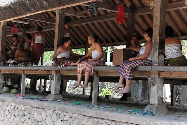 Women in a long hut