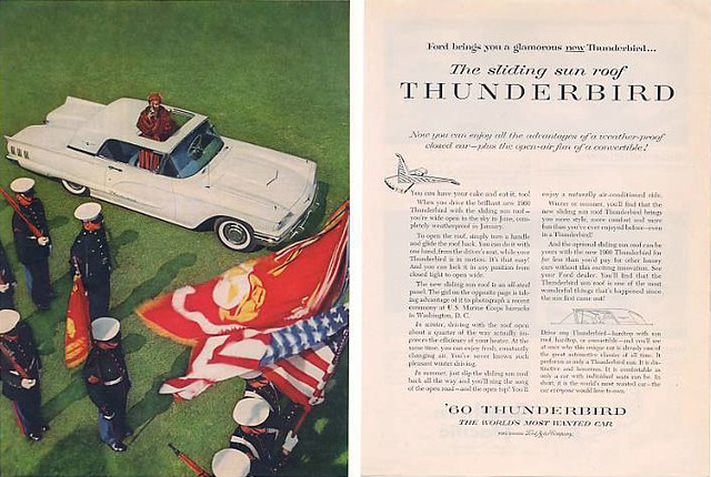 1960 Ford Thunderbird 2-page Marines ad